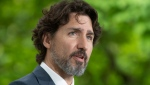 Prime Minister Justin Trudeau responds to a question from a member of the media on site during a daily news conference outside Rideau Cottage in Ottawa, Monday May 25, 2020. THE CANADIAN PRESS/Adrian Wyld