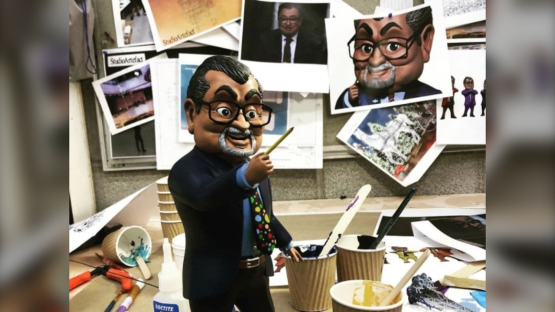 A figurine of Horacio Arruda, the director of Quebec public health, made by Studio Artefact is shown in this undated hand photo posted on the studio's Facebook page. THE CANADIAN PRESS/HO - Facebook, Studio Artefact
