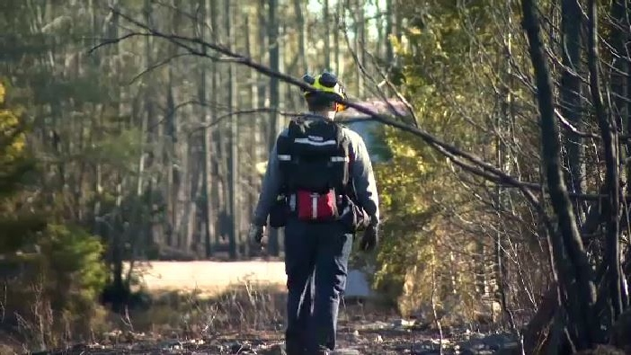 Lands and Forestry firefighting crews were in Porters Lake, N.S., on Monday, putting out any hot spots and removing any leftover firefighting equipment.