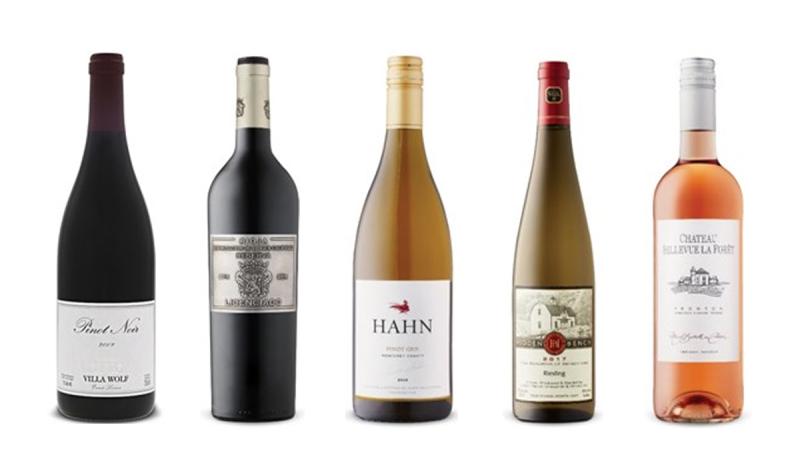 Villa Wolf Pinot Noir 2017, Licenciado Reserva 2015, Hahn Pinot Gris 2018, Hidden Bench Winery Riesling 2017, Château Bellevue La Forêt Rosé 2019
