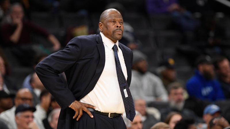 In this Wednesday, Feb. 5, 2020, file photo, Georgetown head coach Patrick Ewing looks on during the first half of an NCAA college basketball game against Seton Hall, in Washington. (AP Photo/Nick Wass, File)
