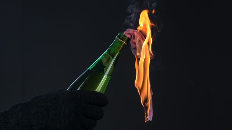 An example of an incendiary device, also known as a Molotov cocktail, is seen in this file image.