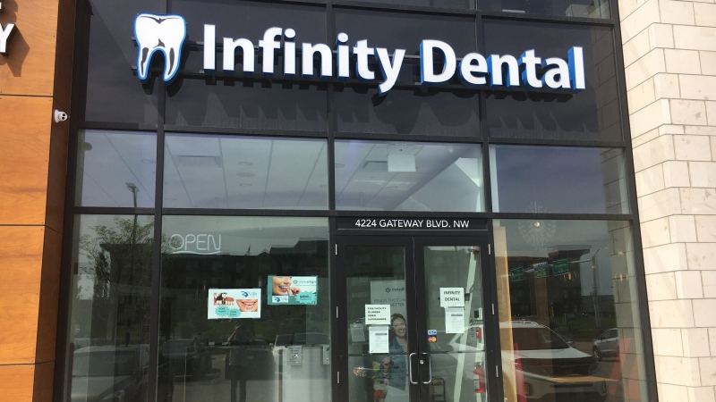 Infinity Dental's Gateway Boulevard location was one of several closed with notices of receivership posted on the front door Monday, May 25, 2020. (CTV News Edmonton)