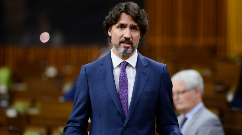 Prime Minister Justin Trudeau stands during question period in the House of Commons on Parliament Hill amid the COVID-19 pandemic in Ottawa on Monday, May 25, 2020. THE CANADIAN PRESS/Sean Kilpatrick
