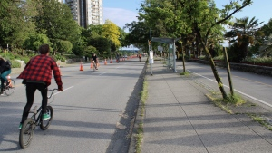 The City of Vancouver closed one lane of Beach Ave. to cars to give cyclists and pedestrians more space during the COVID-19 pandemic. Now the city is planning to close more streets to all but local resident traffic. (CTV)