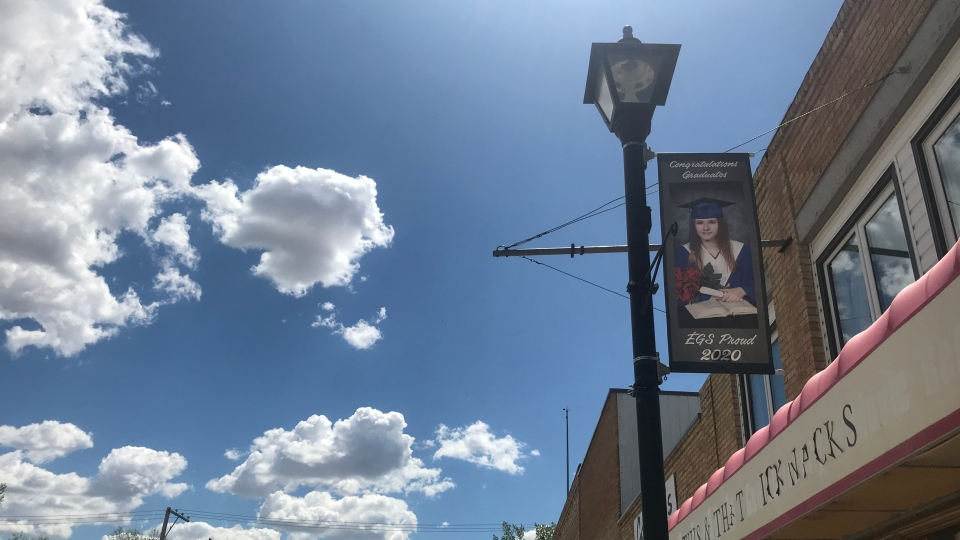 Graduates from Gravelbourg, Sask. are being celebrated with banners along Main Street. (Cally Stephanow / CTV News Regina)