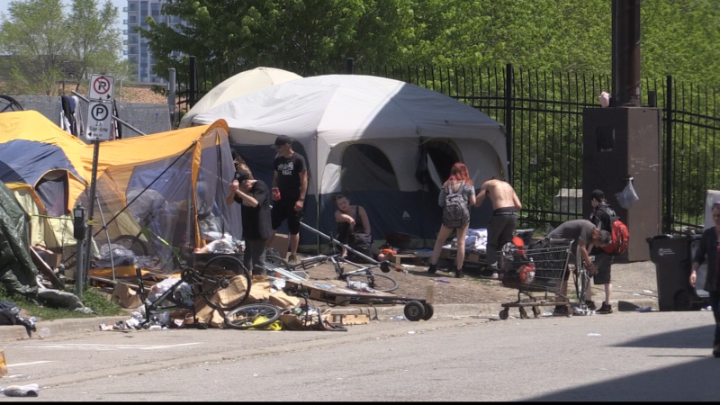 Homeless encampment in London, Ont. on May 25, 2020. (Bryan Bicknell/CTV London)
