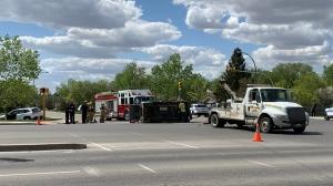 Emergency crews respond to a crash on Pasqua Street on May 25, 2020 (Marc Smith / CTV News Regina)