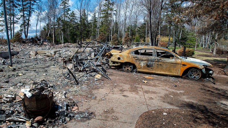 A fire-destroyed property registered to Gabriel Wortman at 200 Portapique Beach Rd. is seen in Portapique, N.S., Friday, May 8, 2020. THE CANADIAN PRESS/Andrew Vaughan