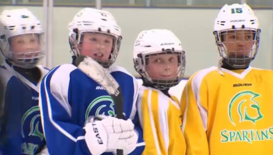 Young hockey players in Alberta before the COVID-19 pandemic.