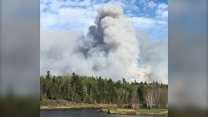 A view of the Blackville forest fire, as seen by a resident of Cains River. (COURTESY ALLISON COLFORD)