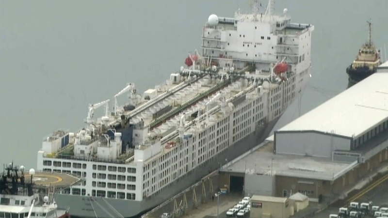 This image from a video shows a freight ship in Fremantle, Australia Tuesday, May 26, 2020. (AuBC/CHANNEL 7/CHANNEL 9 via AP)