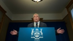 Ontario Premier Doug Ford speaks during his daily updates regarding COVID-19 at Queen's Park in Toronto on Monday, May 25, 2020. THE CANADIAN PRESS/Nathan Denette