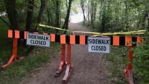 Part of the trail at 101 Avenue and 87 Street was washed out due to high water levels.