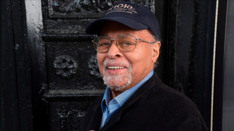 "In this 2019 photo provided by Smoke Sessions Records, musician Jimmy Cobb poses for the release of his album ""This I Dig of You"" in New York City. (Courtesy of Smoke Sessions Records via AP)"