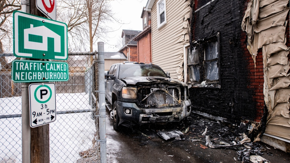 A burned out tow truck in seen in this image. (York Regional Police)