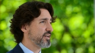 Prime Minister Justin Trudeau holds his daily briefing from Rideau Cottage amid the COVID-19 pandemic in Ottawa on Tuesday, May 26, 2020. THE CANADIAN PRESS/Sean Kilpatrick