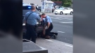 A black man has died in Minneapolis police custody after video shared online from a bystander showed a white officer kneeling on his neck during his arrest as he pleaded that he couldn't breathe. (Source: Darnella Frazier via Storyful)