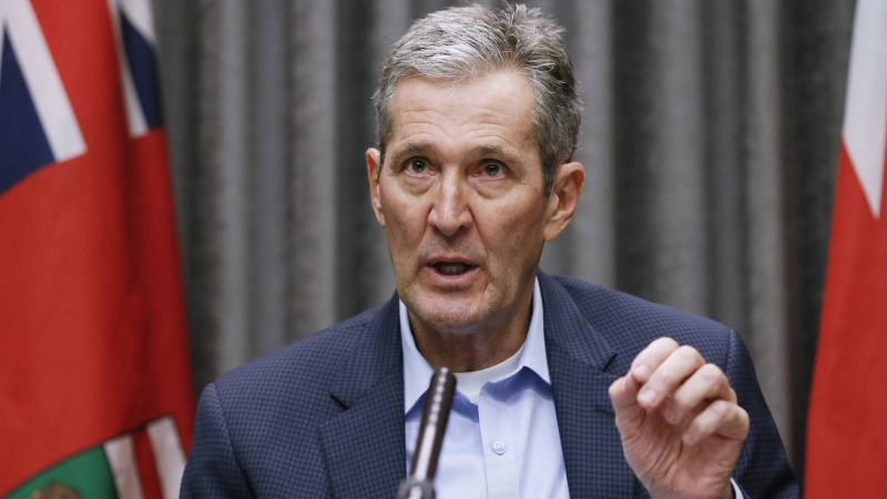 Manitoba Premier Brian Pallister speaks and answers questions during a COVID-19 press conference at the Manitoba legislature in Winnipeg Thursday, March 26, 2020. THE CANADIAN PRESS/John Woods