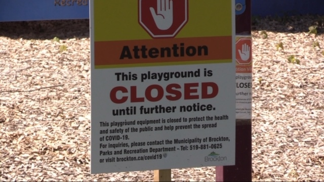 Playground closed sign in Brockton Ont.