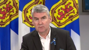 Nova Scotia Premier Stephen McNeil provides an update on COVID-19 during a news conference in Halifax on May 26, 2020.