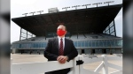 Darren Dunn, chief executive officer, is photographed at the track at Assiniboia Downs in Winnipeg Monday, May 25, 2020. THE CANADIAN PRESS/John Woods