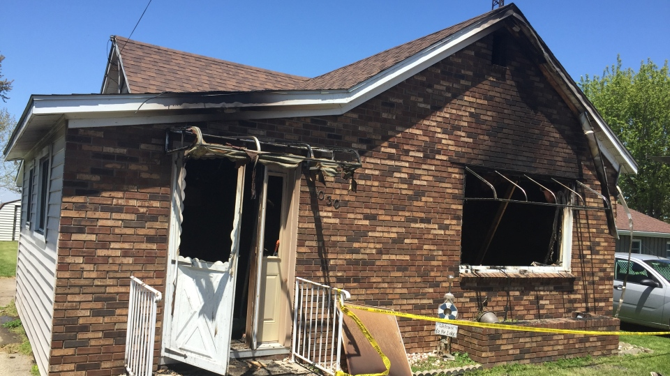 A fatal fire destroyed a home in Erieau, Ont. on Tuesday, May 26, 2020. (Bryan Bicknell / CTV London)