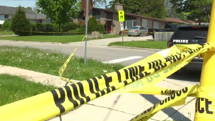 Police tape at the scene of a fatal stabbing in Brantford. (May 26, 2020)