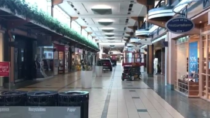 Although malls are technically open, many stores remain shuttered.