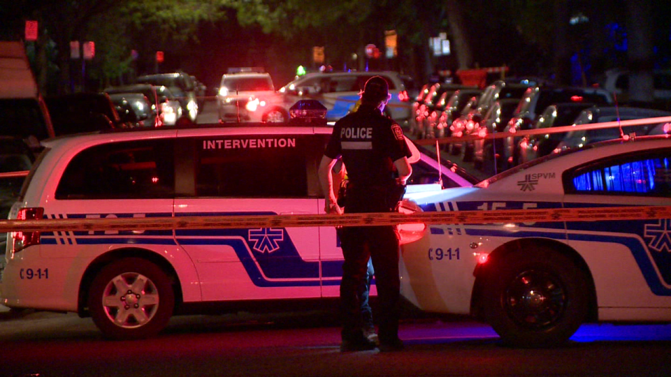 Police investigate after shots were fired at a taxi in Saint-Henri on Tuesday, May 26, 2020 / Cosmo Santamaria, CTV Montreal