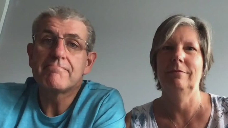 Rick Pauze and his wife Dorothy were separated for months after Rick was stuck at sea aboard the cruise ship for which he works. (CTV News Channel)