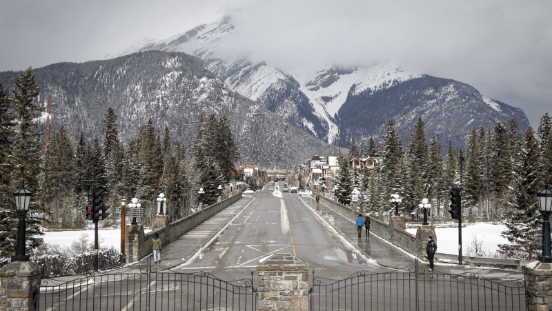The empty streets of Banff are seen as Parks Canada is restricting vehicles in the national parks and national historic sites amid a worldwide COVID-19 pandemic. More than half of Canada's national parks, including Banff, Pacific Rim and Cape Breton Highlands, will reopen on June 1. (Jeff McIntosh