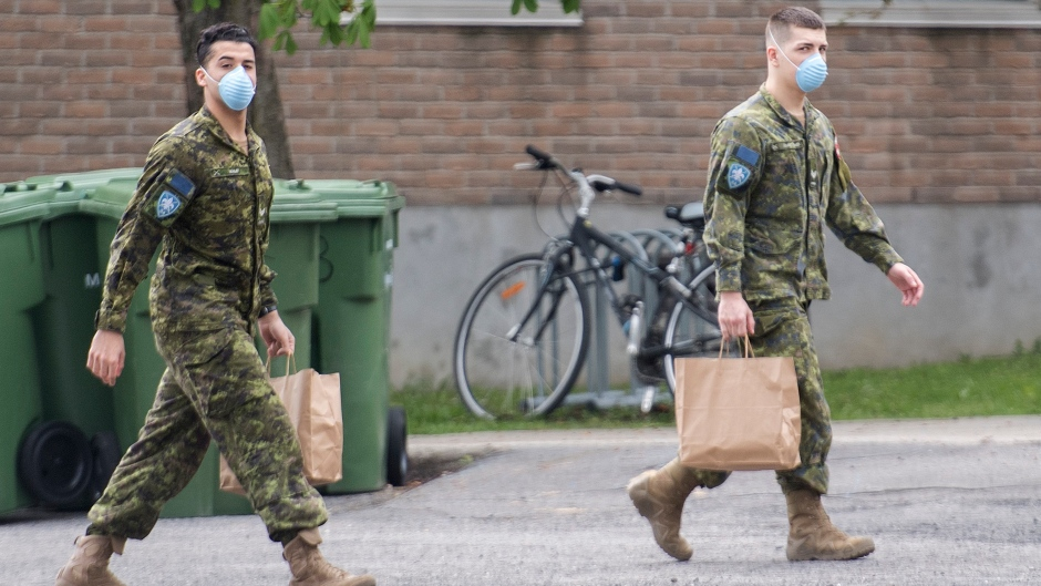 Members of the Canadian Armed Forces are shown at Residence Yvon-Brunet, a long-term care home in Montreal, Saturday, May 16, 2020, as the COVID-19 pandemic continues in Canada and around the world. THE CANADIAN PRESS/Graham Hughes