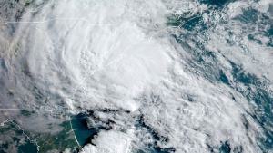 This GOES-16 satellite image taken Wednesday, May 27 and provided by the National Oceanic and Atmospheric Administration (NOAA), shows Tropical Storm Bertha approaching the South Carolina coast. (NOAA via AP)