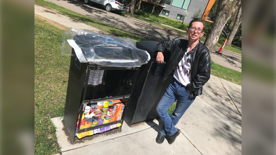 The Lovegood food exchange box in Oliver at Paul Kane Park. Tuesday May 26, 2020 (Matt Marshall/CTV News Edmonton)