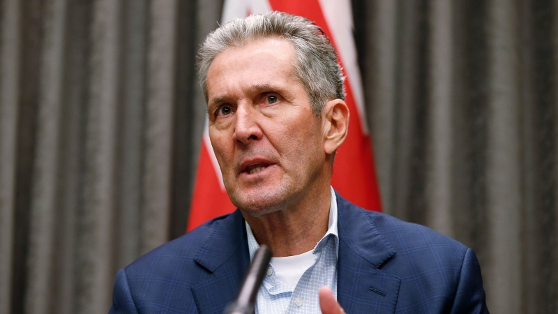 Manitoba Premier Brian Pallister announces two COVID-19 rental initiatives for tenants and landlords and answers media questions during a COVID-19 live-streamed press conference at the Manitoba legislature in Winnipeg Tuesday, March 24, 2020. THE CANADIAN PRESS/John Woods