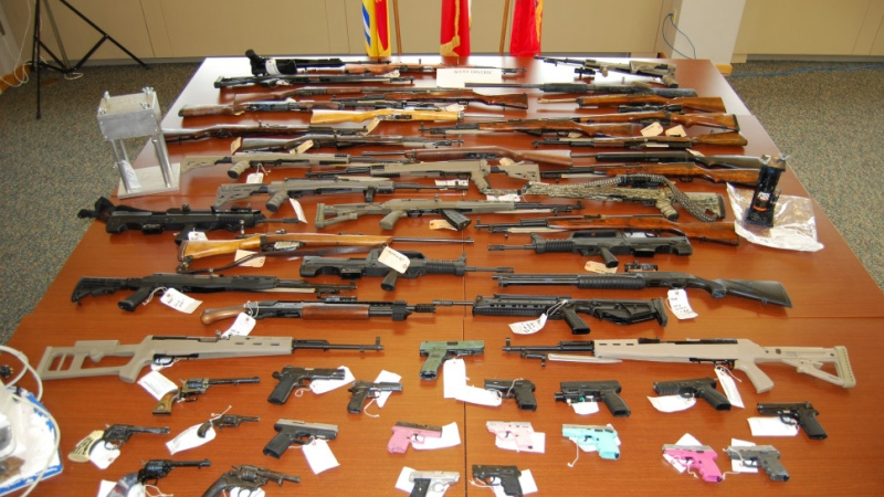 police seized 53 firearms, including 31 long guns and 22 handguns, 24 of which were either prohibited and/or restricted. (Photo Courtesy: RCMP)