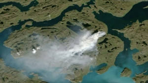 National Oceanic and Atmospheric Administration satellite photo shows smoke from wildfire in western Greenland. (NOAA)