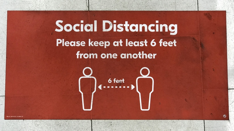 Social and physical distancing signs are pictured on the floors of various business throughout Vancouver and surrounding area are pictured between May 1-12th, 2020. As the city and the province of British Columbia start to rollout plans for certain businesses to open signs like these will be the new normal for the foreseeable future amongst the COVID-19 pandemic. THE CANADIAN PRESS/Jonathan Hayward