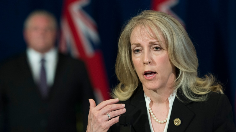 Merrilee Fullerton, Ontario's Minister of Long-Term Care answers questions during daily updates regarding COVID-19 at Queen's Park in Toronto on Wednesday, May 27, 2020. THE CANADIAN PRESS/Nathan Denette