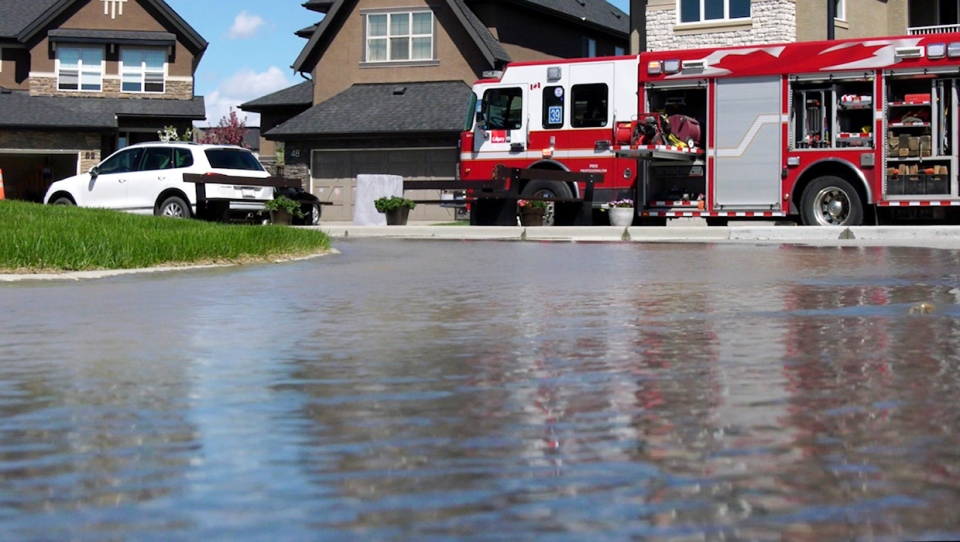 A ruptured water line caused flooding in three Calgary basements Wednesday in the southeast neighbourhood of Quarry Park.