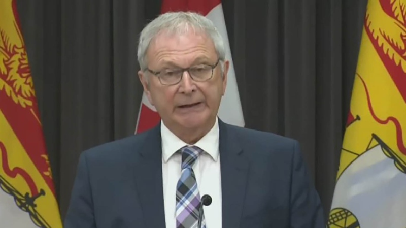 New Brunswick Premier Blaine Higgs provides an update on COVID-19 during a news conference in Fredericton on May 27, 2020.