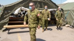 Canadian Forces personnel return from their break at the Vigi Mount Royal CHSLD seniors residence Tuesday May 26, 2020 in Montreal. THE CANADIAN PRESS/Ryan Remiorz