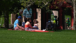 People enjoying the sunshine in Hawrelak Park. May 24, 2020. (CTV News Edmonton)