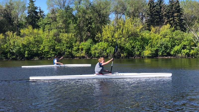 Kayakers train on Wascana Lake