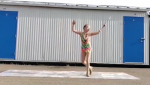 """11-year-old Zoe Byrd says baton twirling is one of the safest things to do in a pandemic, """"because people don't really want to go near you because they don't want to get hit by a metal stick."""""""