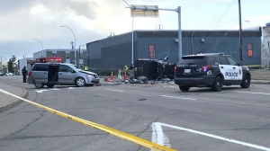 A crash in west Edmonton has shut down 100 Avenue eastbound at 167 Street. May 27, 2020. (CTV News Edmonton)