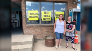 Lena Derksen organized a roadside stop at the Flying J Station in Lethbridge, Alta., to provide truckers with free food, PPE, coffee and a bathroom.