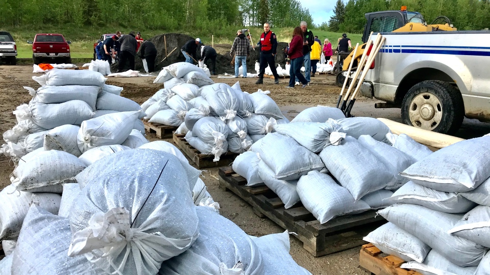 Sandbags ready for residents to use as water levels rise in Lac Ste Anne. May 27, 2020. (Sean Amato/CTV News Edmonton)