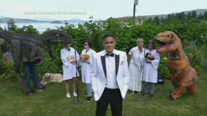"""""""It's okay to make people smile in hard times."""" Adam finds out why a Brentwood Bay family made a unique music video for Dr. Bonnie Henry with dinosaurs and chickens."""